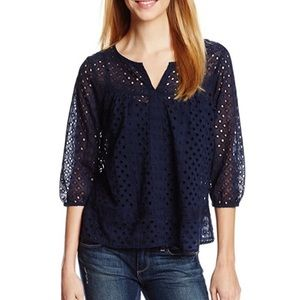 Lucky Brand Eyelet Lace Peasant Top Navy Blue